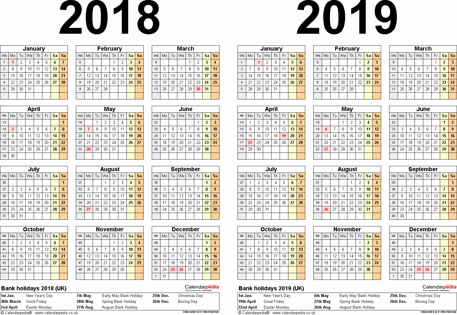 Printable 2018 and 2019 Calendar Unique Two Year Calendars for 2018 & 2019 Uk for Word