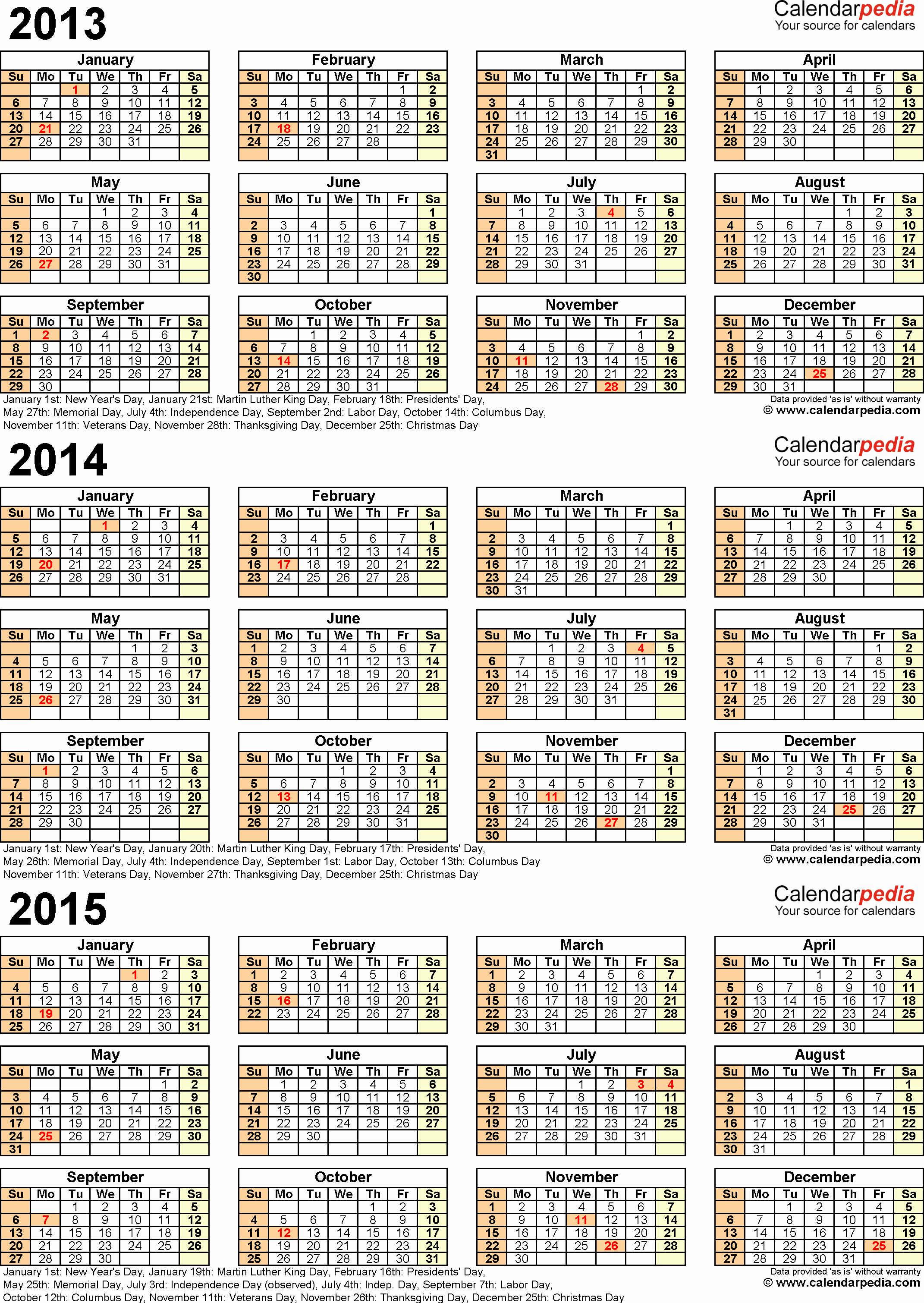 Printable 3 Month Calendar 2015 Awesome 2013 2014 2015 Calendar 2 Three Year Printable Pdf Calendars