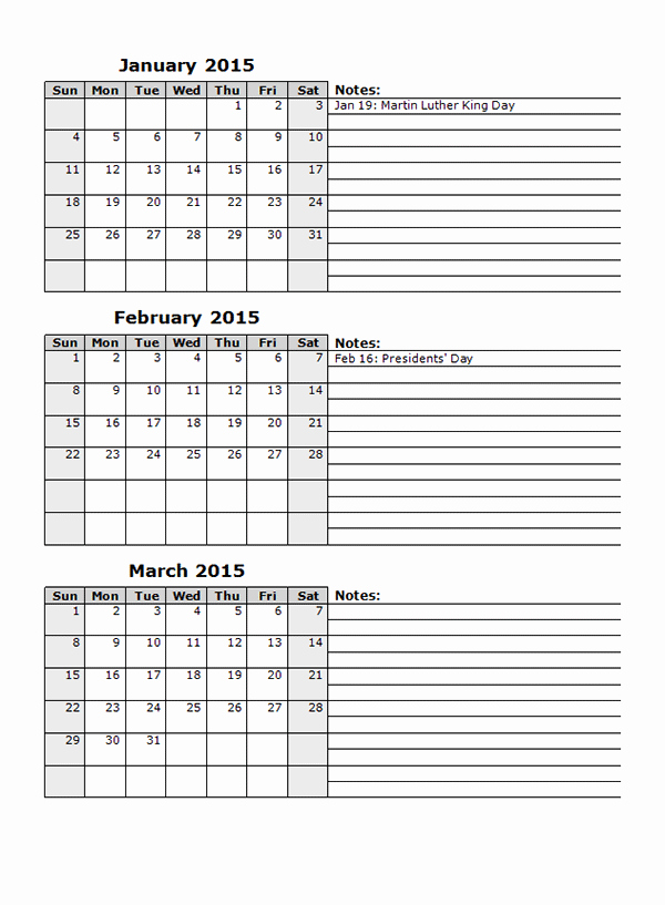 Printable 3 Month Calendar 2015 Beautiful 2015 Monthly Calendar Template 12 Free Printable Templates