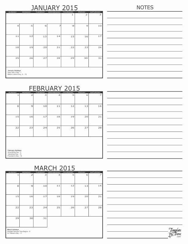 Printable 3 Month Calendar 2015 Best Of 3 Month Calendar 2015