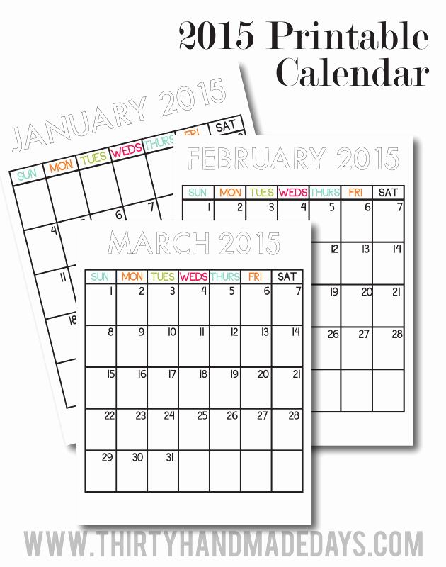 Printable 3 Month Calendar 2015 Best Of Free Printable 2015 Calendars