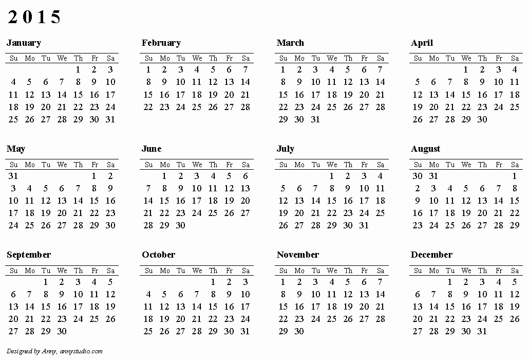 Printable 3 Month Calendar 2015 Elegant 2015 Calendars