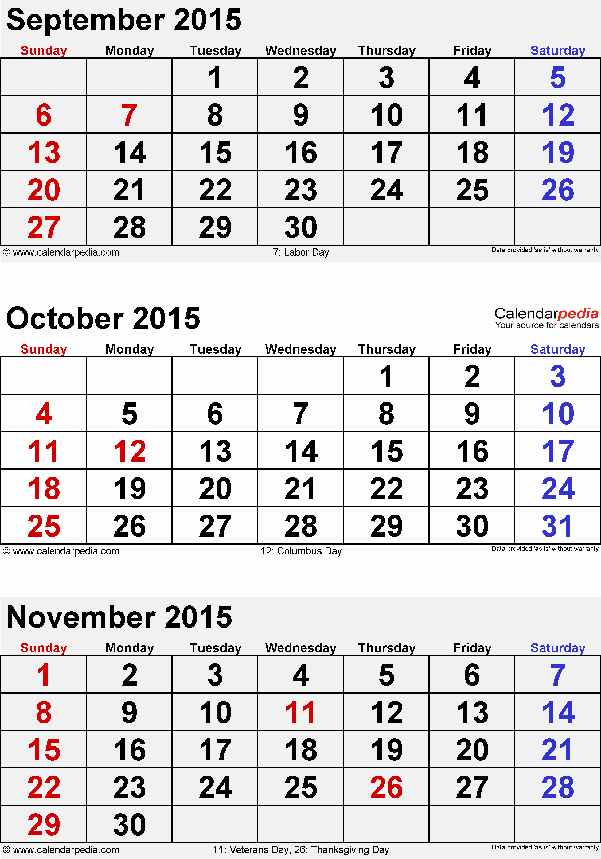 Printable 3 Month Calendar 2015 Fresh September October November 2015 3 Month Calendar
