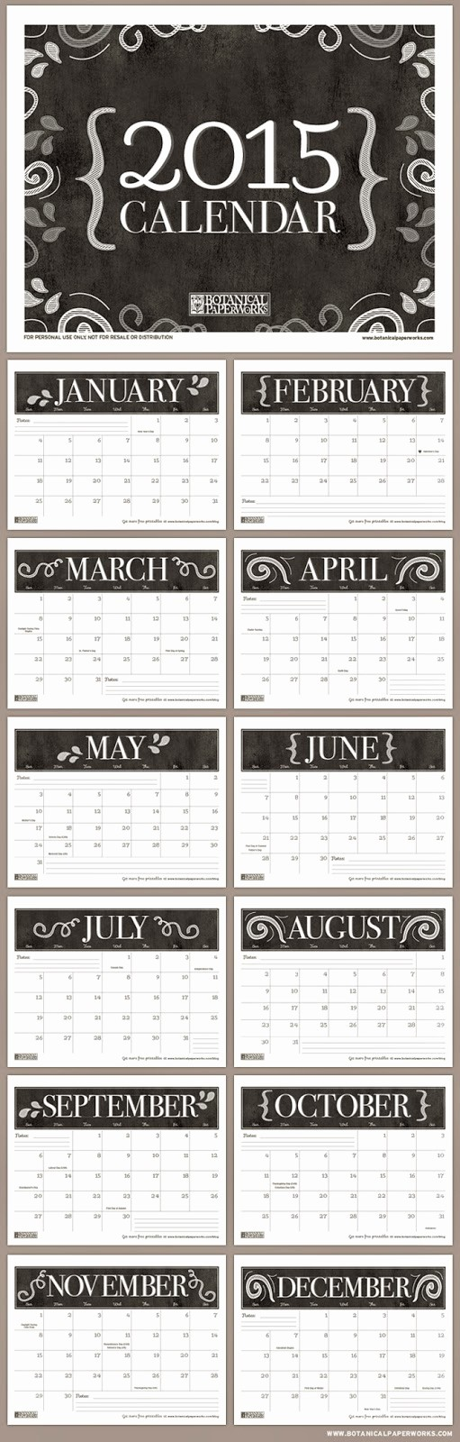 Printable 3 Month Calendar 2015 Inspirational Free Printable 2015 Monthly Calendar