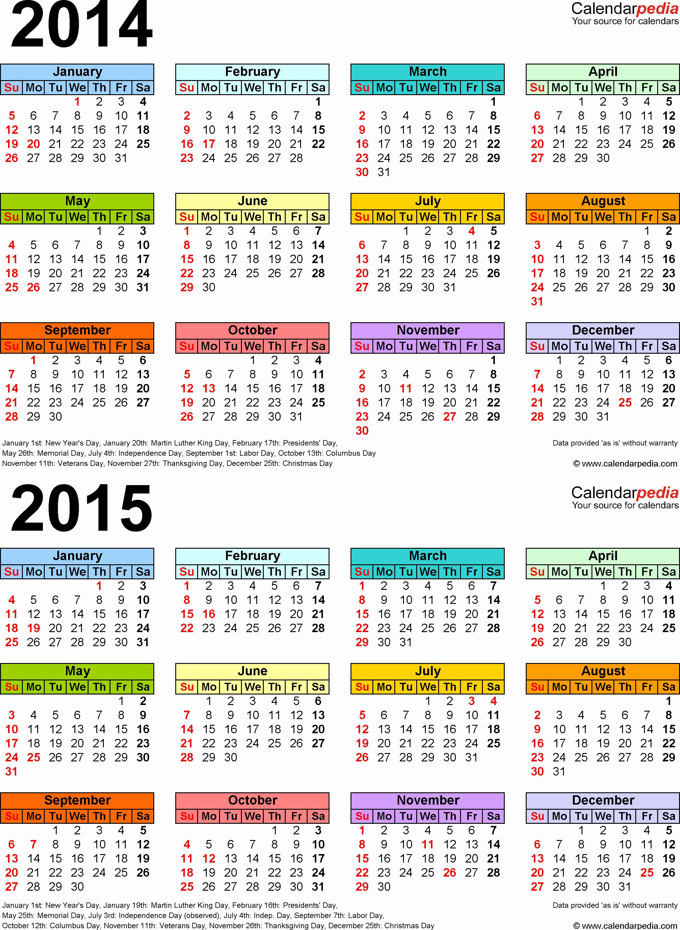 Printable 3 Month Calendar 2015 Lovely 2014 2015 Calendar Free Printable Two Year Word Calendars