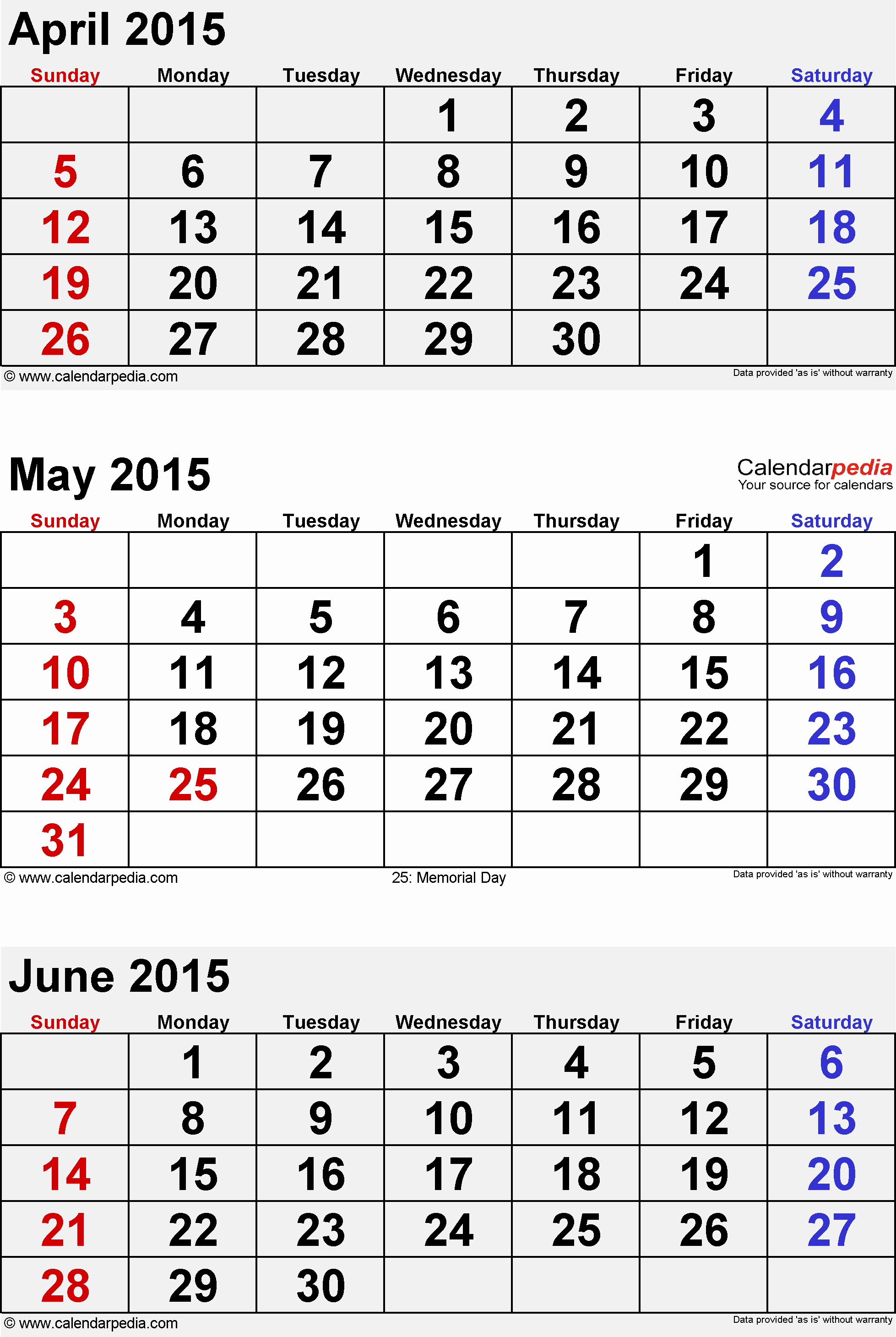 Printable 3 Month Calendar 2015 Lovely June 2015 Calendars for Word Excel & Pdf