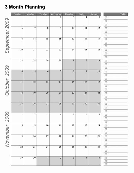 Printable 3 Month Calendar 2015 Lovely Printable Three Month Calendar Template 2016