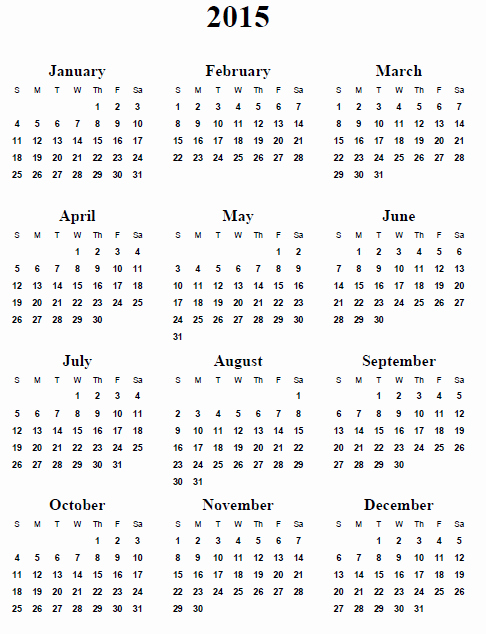 Printable 3 Month Calendar 2015 Lovely Yearly Calendar 2015 Printable