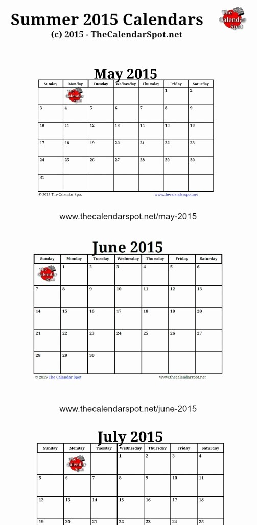 Printable 3 Month Calendar 2015 New 7 Best Of Summer Calendar Printable Blank Summer