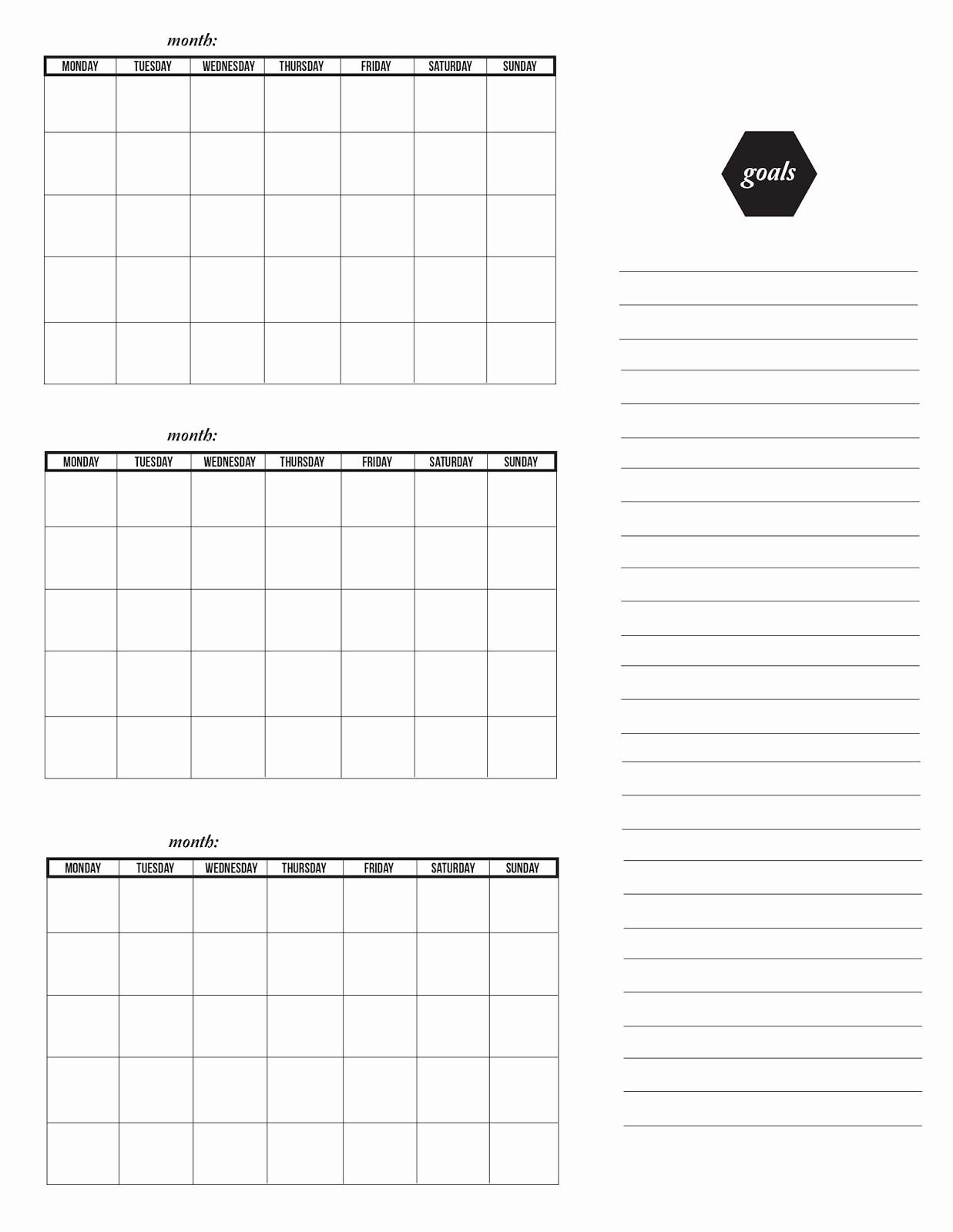Printable 3 Month Calendar 2015 New the Obsessive Imagist