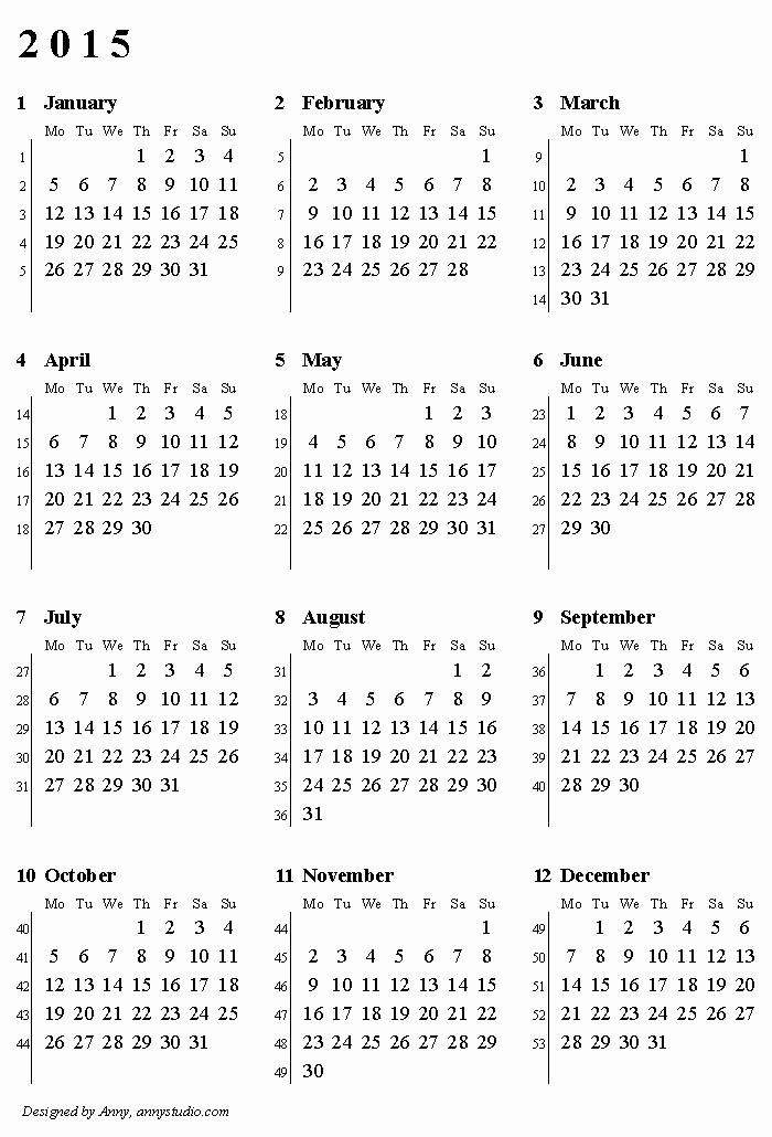 Printable 3 Month Calendar 2015 New Weekly Number Calendar 2015