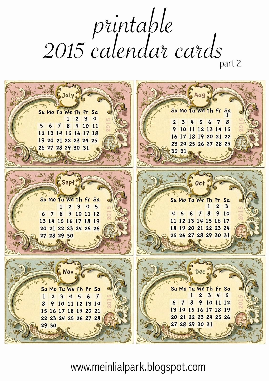 Printable 3 Month Calendar 2015 Unique Free Printable 2015 Calendar Cards Part 2