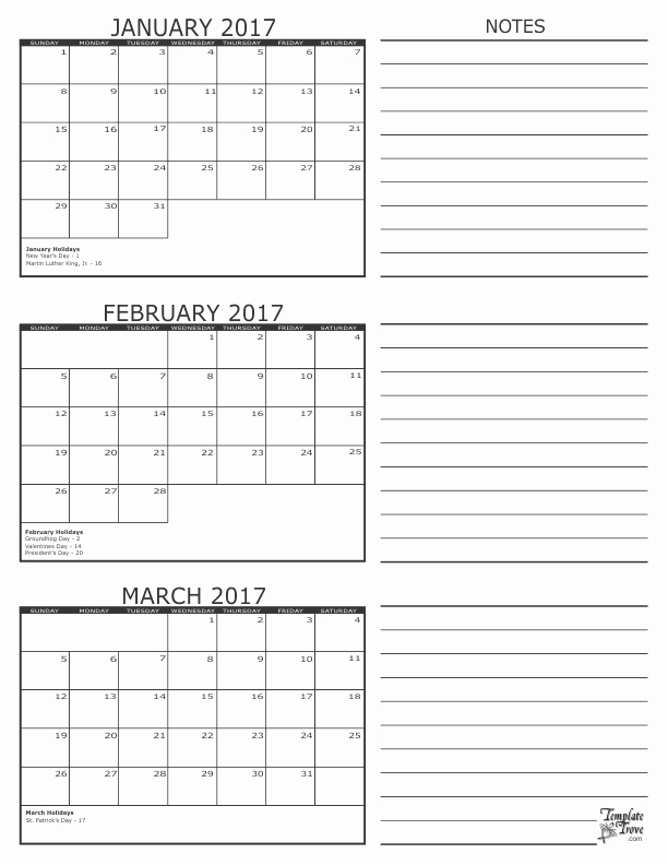 Printable 3 Month Calendar 2017 Awesome 3 Month Calendar 2017