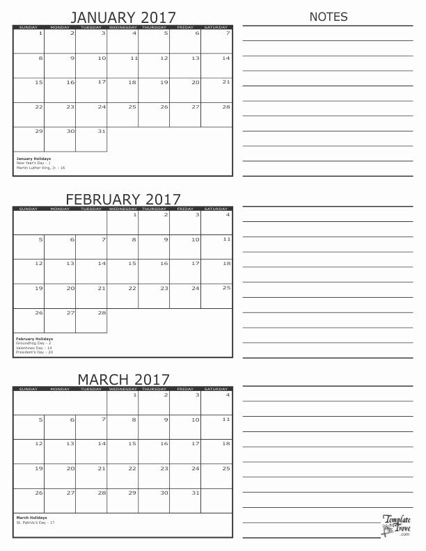 Printable 3 Month Calendar 2017 Awesome 3 Month Calendar 2017