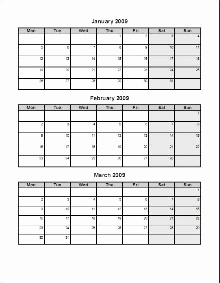 Printable 3 Month Calendar 2017 Awesome Blank 3 Month Calendar Template