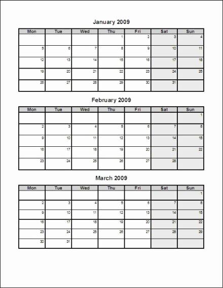 Printable 3 Month Calendar 2017 Awesome Blank 3 Month Calendar Template