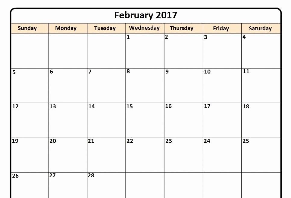 Printable 3 Month Calendar 2017 Beautiful February 2017 Monthly Calendar Printable Calendar and