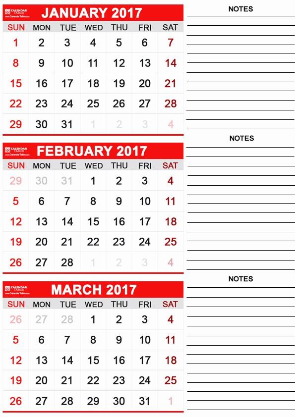 Printable 3 Month Calendar 2017 Best Of Free Printable February 2017 Calendar Calendartable