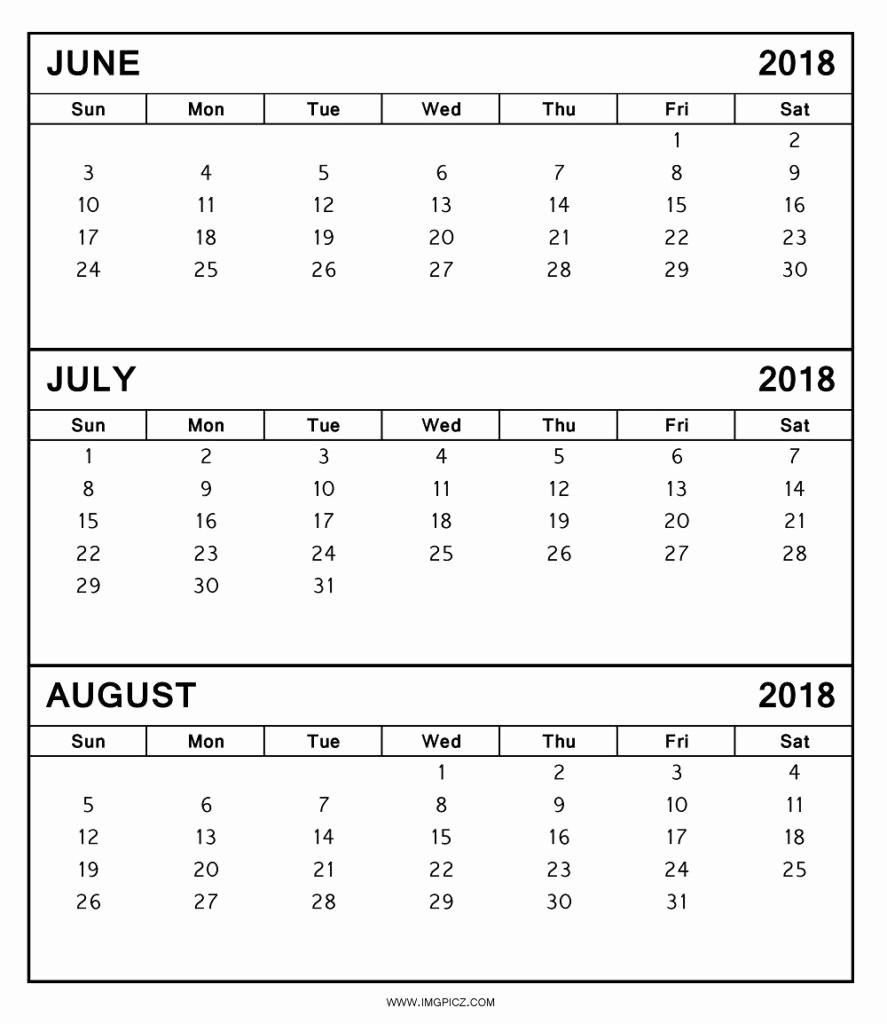 Printable 3 Month Calendar 2017 Elegant 3 Month Calendar June July August 2018