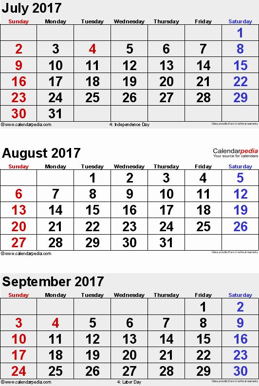 Printable 3 Month Calendar 2017 Elegant August 2017 Calendars for Word Excel & Pdf