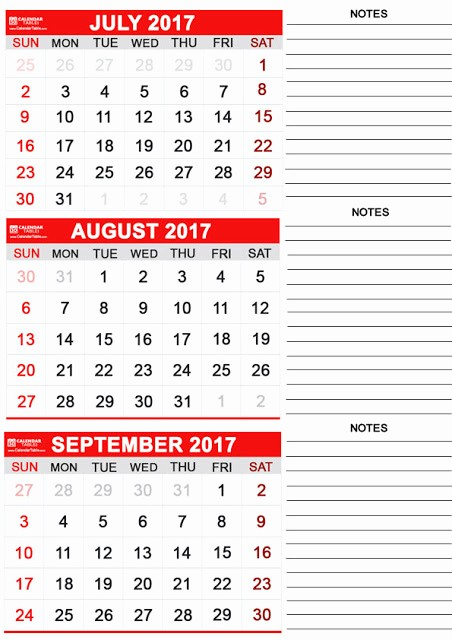 Printable 3 Month Calendar 2017 Elegant July August September 2017