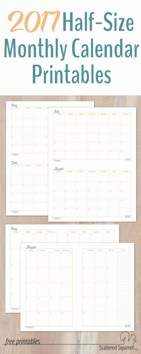 Printable 3 Month Calendar 2017 Inspirational 2017 Half Size Monthly Calendar Printables
