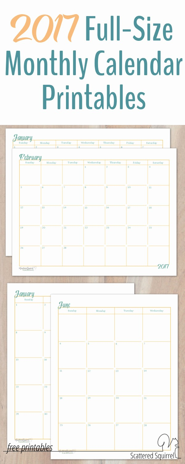 Printable 3 Month Calendar 2017 Lovely 2017 Full Size Monthly Calendar Printables are Here