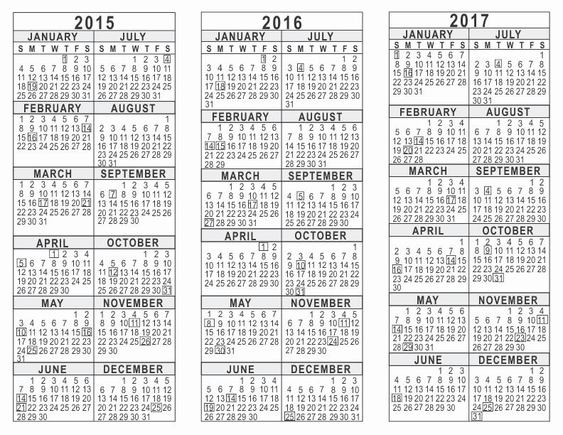 Printable 3 Month Calendar 2017 New 2015 2016 2017 3 Year Calendar