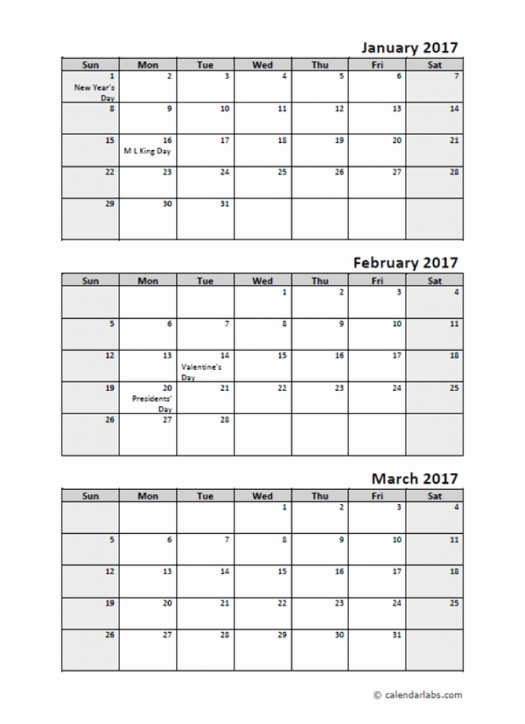 Printable 3 Month Calendar 2017 New 2017 Quarterly Calendar with Holidays Free Printable