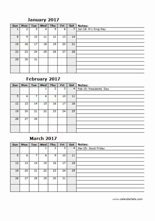 Printable 3 Month Calendar 2017 New 2017 Three Month Calendar Template 12l Free Printable
