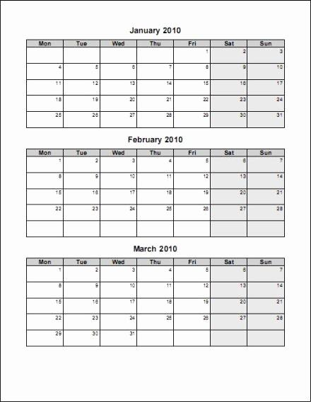 Printable 3 Month Calendar 2017 New 3 Month Calendar Template Word
