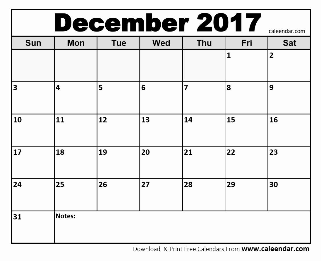 Printable 3 Month Calendar 2017 Unique December 2017 Printable Calendar