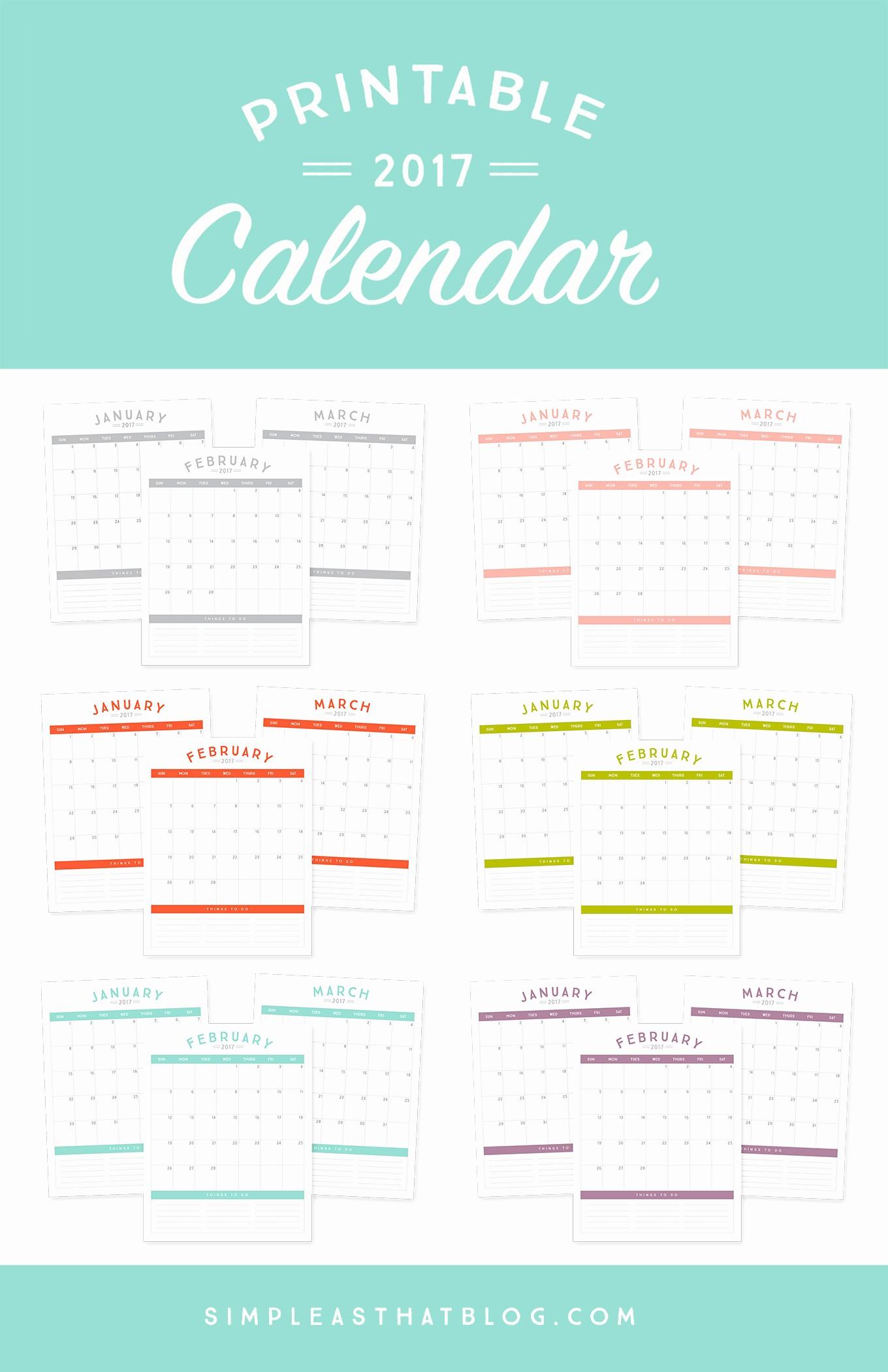 Printable 3 Month Calendar 2017 Unique Free Printable 2017 Calendar