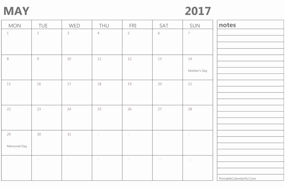 Printable 4 Month Calendar 2017 Beautiful Printable May 2017 Calendar Template Monthly Calendar 2017