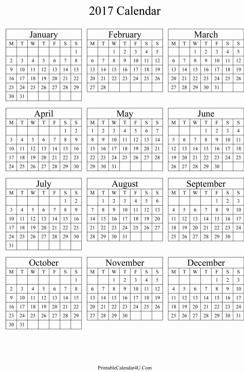 Printable 4 Month Calendar 2017 Best Of Annual Calendar 2017 Portrait Printable Calendar 2019 2020