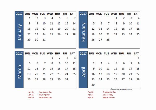Printable 4 Month Calendar 2017 Fresh 2017 Excel 4 Month Calendar Template Free Printable