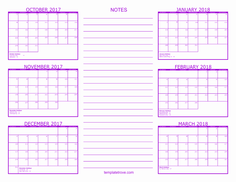 Printable 4 Month Calendar 2017 Fresh 2017 Month by Month Calendar Calendar Template 2018