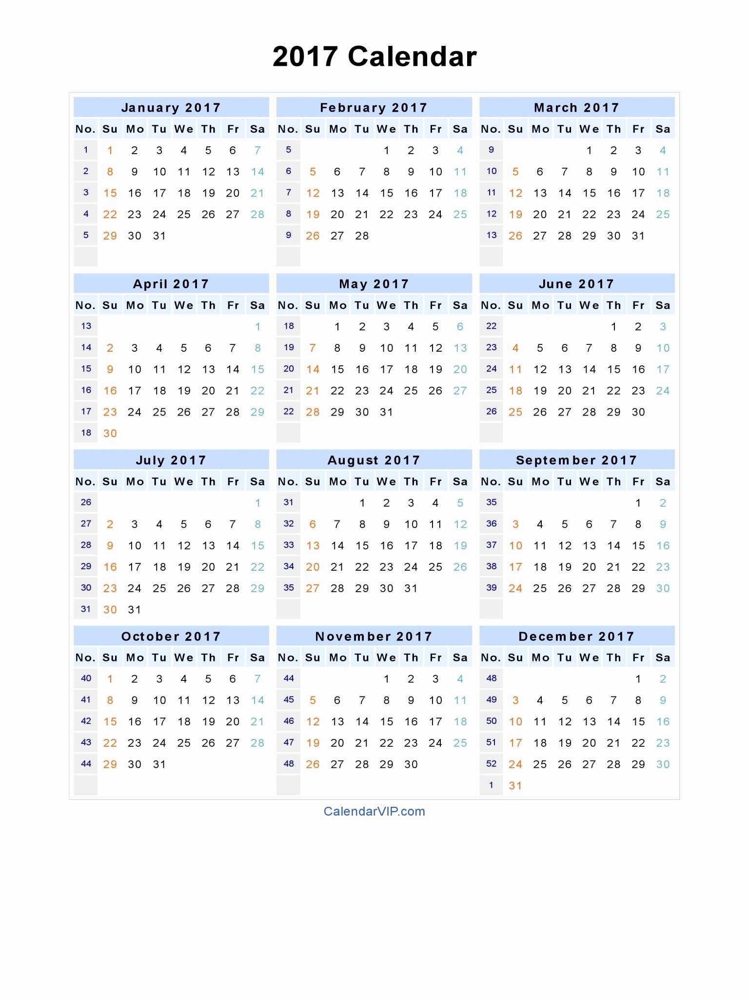 Printable 4 Month Calendar 2017 Fresh 2017 Printable Calendar Word