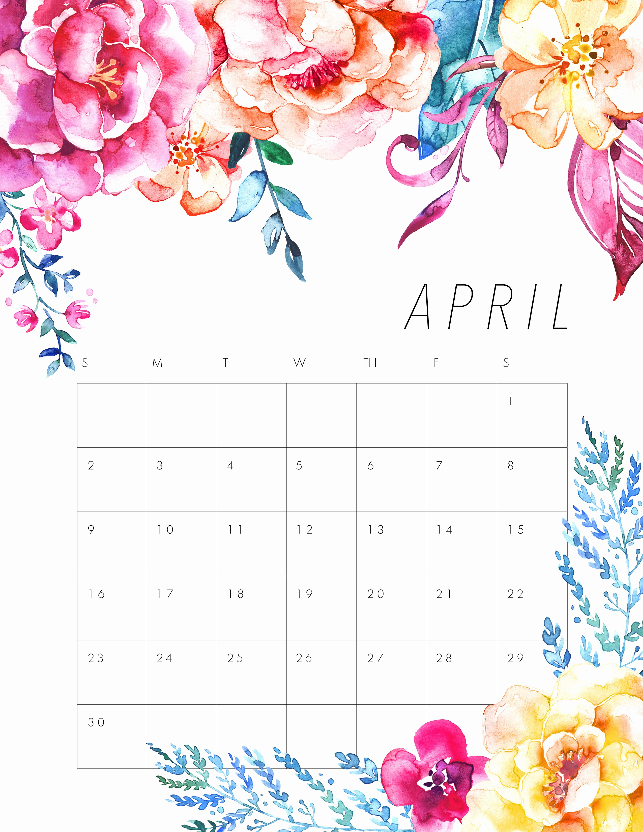 Printable 4 Month Calendar 2017 Inspirational Free Printable 2017 Floral Calendar the Cottage Market