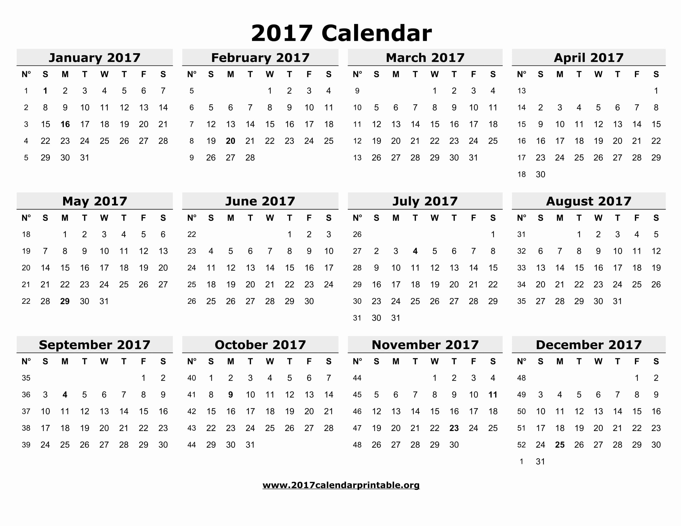 Printable 4 Month Calendar 2017 Luxury 12 Month Printable Calendar 2017