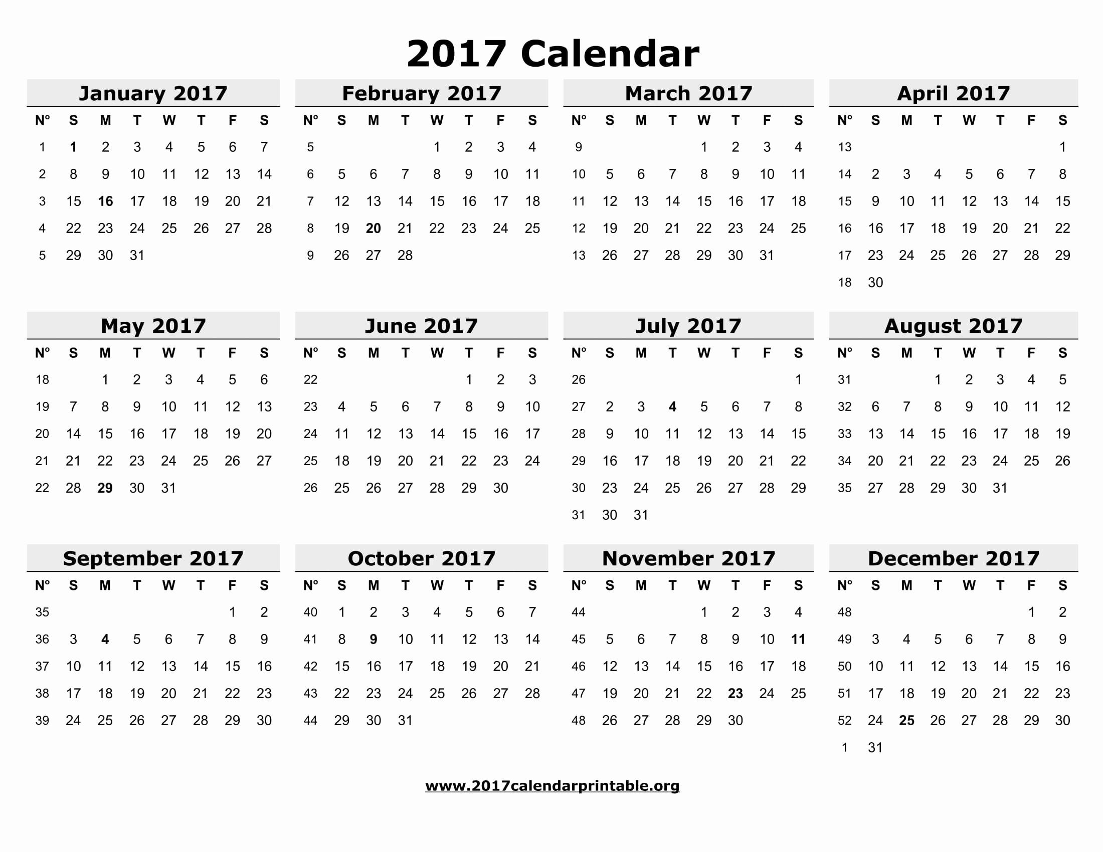 Printable 4 Month Calendar 2017 Luxury 12 Month Printable Calendar 2017