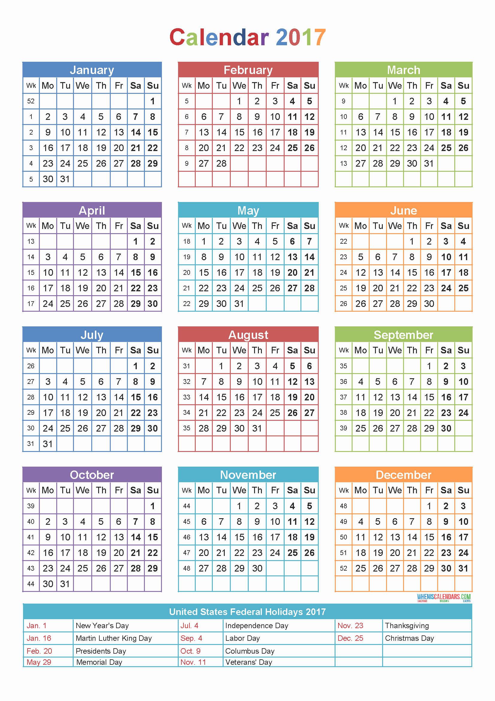 Printable 4 Month Calendar 2017 Luxury 2017 Printable Yearly Calendar with Holidays