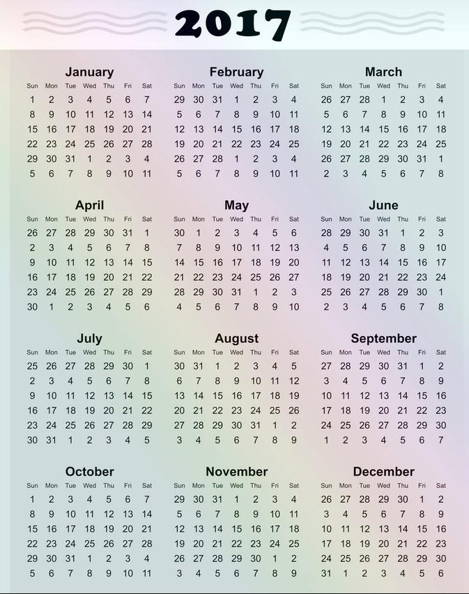 Printable 4 Month Calendar 2017 Luxury Free Printable 2017 Yearly Calendar Calendar Template 2018