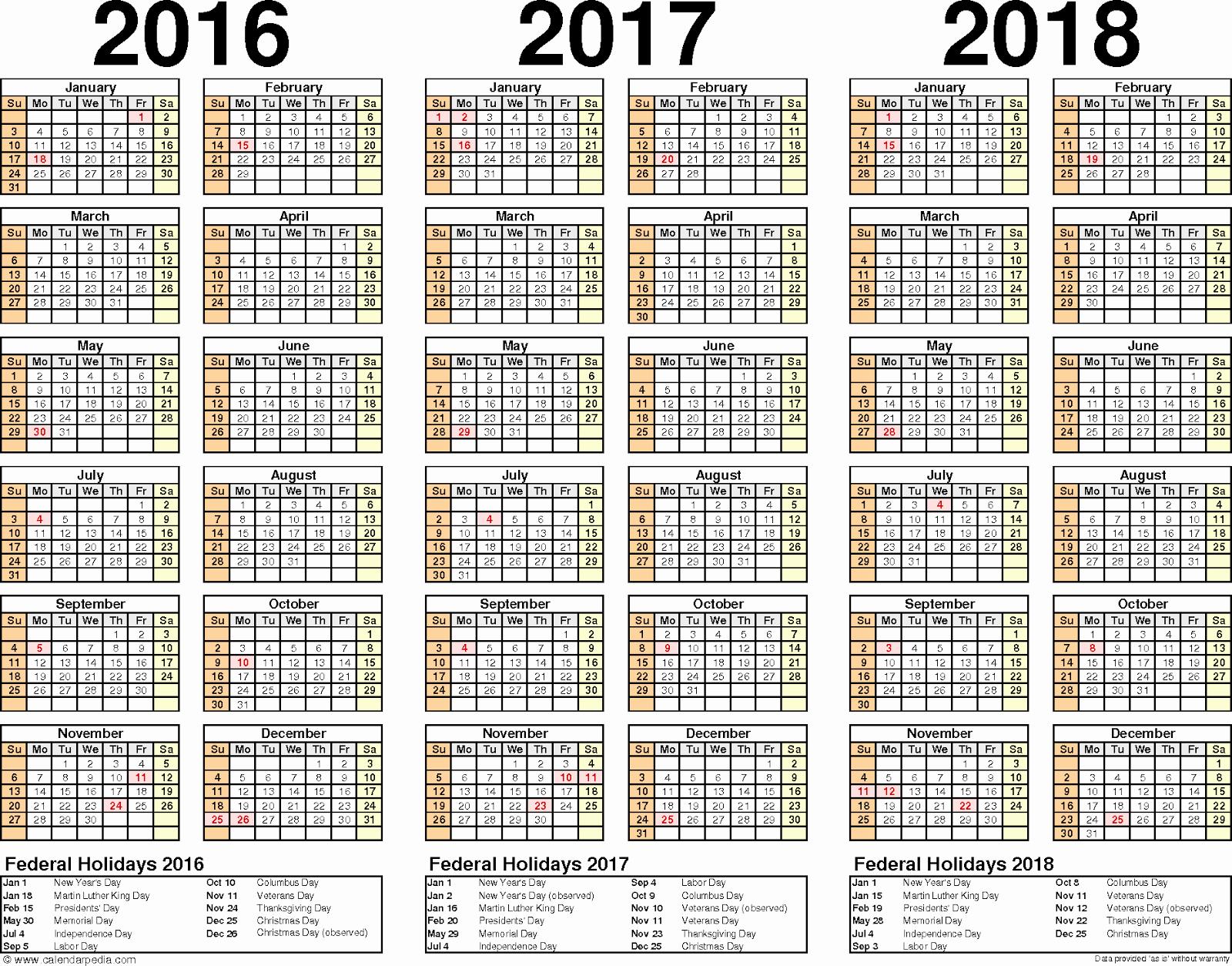 Printable 4 Month Calendar 2017 New 2016 2017 2018 Calendar 3 Year Printable