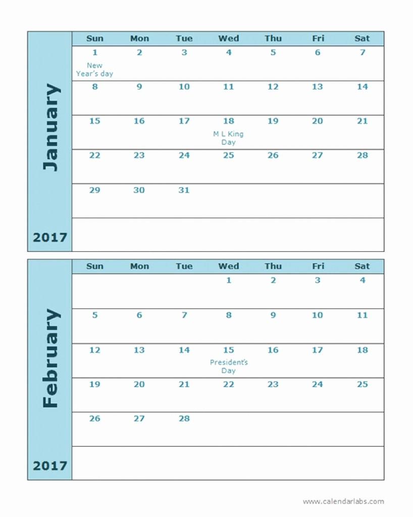 Printable 4 Month Calendar 2017 New 4 Month Calendar Printable