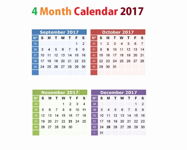 Printable 4 Month Calendar 2017 Unique Printable Calendar 2017 September to December Uma Printable