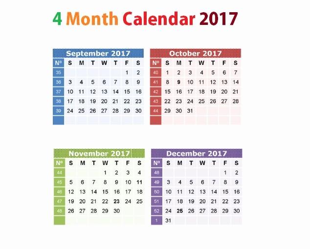 Printable 4 Month Calendar 2017 Unique Printable Calendar 2017 September to December Uma Printable