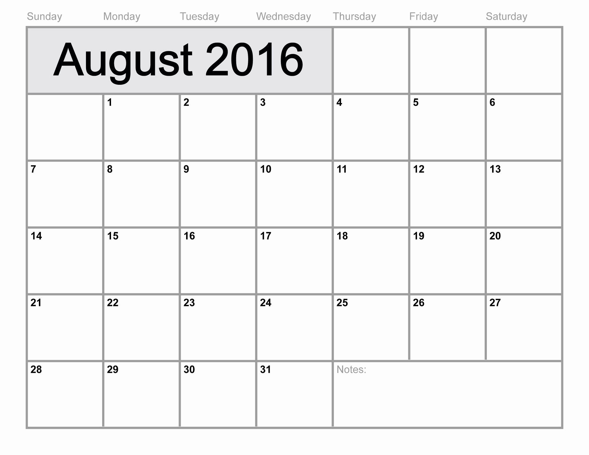Printable 6 Month Calendar 2016 Awesome 2016 Monthly Calendar Printable