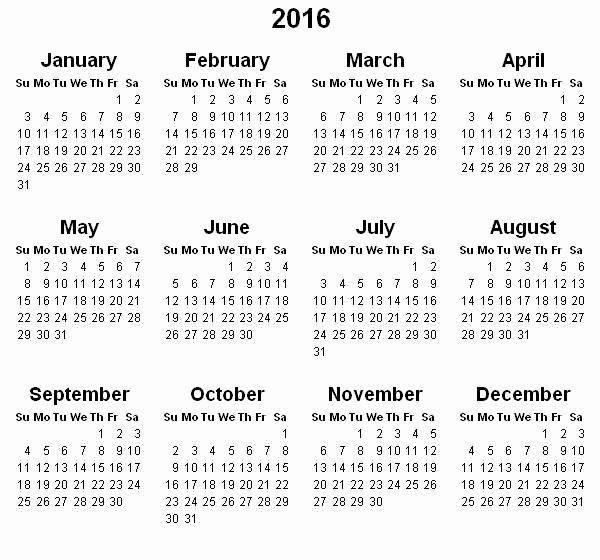 Printable 6 Month Calendar 2016 Beautiful 2016 Year Calendar Template