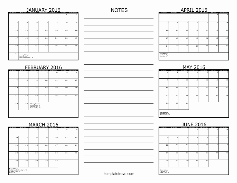 Printable 6 Month Calendar 2016 Best Of 6 Month Calendar 2016